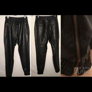 NWOT Royal Army Black Faux Leather Trim Jogger L